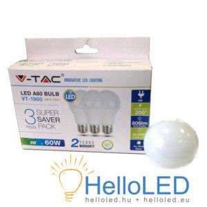 LED izzó - 9W E27 A60 Thermoplastic - 2700K 3db/doboz - 7240