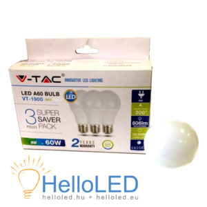 LED izzó – 9W E27 A60 Thermoplastic 3db/doboz