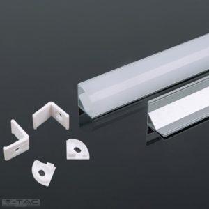 www.helloled.hu V-Tac Alumínium sarok profil 2 méter tejfehér fedlappal - 3353