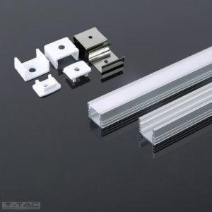 www.helloled.hu V-Tac Alumínium profil 2 méter tejfehér fedlappal - 3358