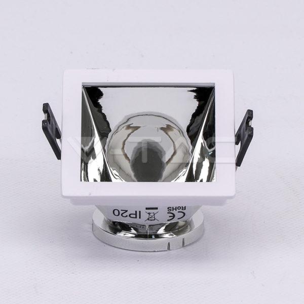 www.helloled.hu V-Tac GU10 négyszög beépítőkeret fehér/króm - 3168