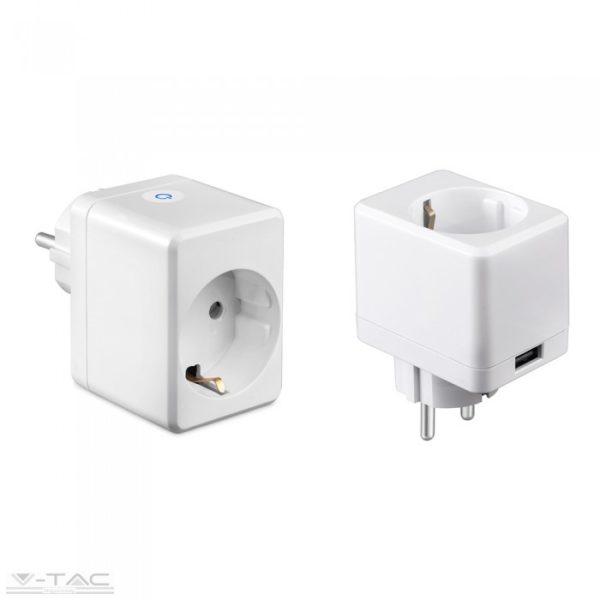 www.helloled.hu V-Tac Wifis smart konnektor USB porttal fehér - 8416