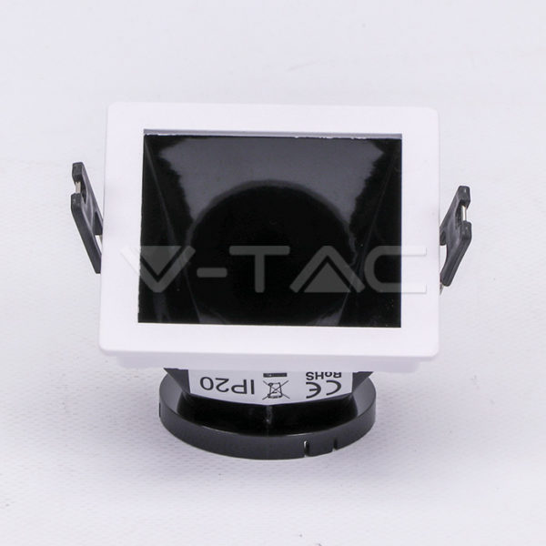 www.helloled.hu V-Tac GU10 négyszög beépítőkeret fehér/fekete - 3165