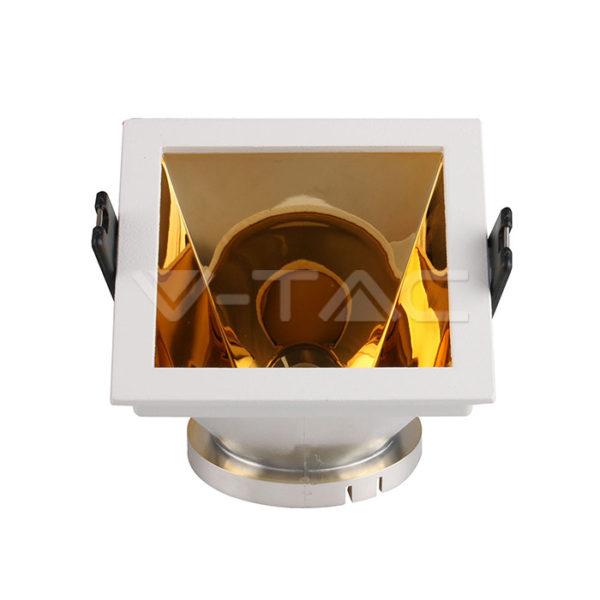 www.helloled.hu V-Tac GU10 négyszög beépítõkeret fehér/arany - 3166