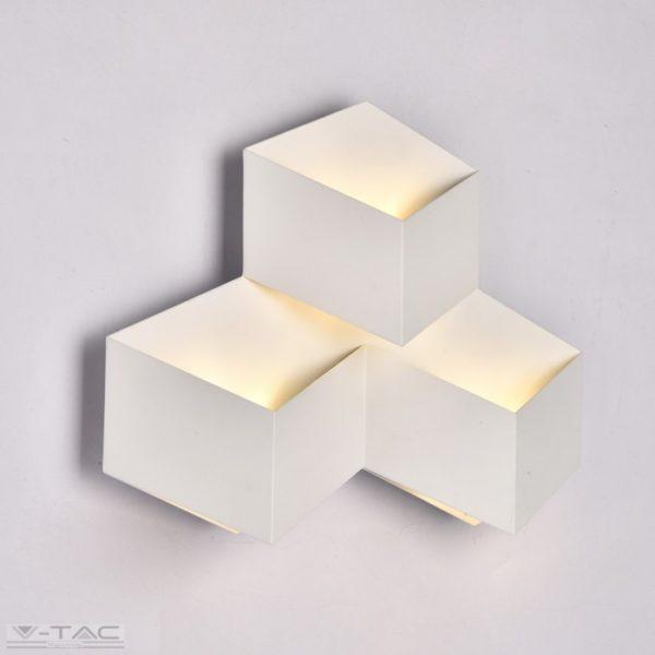 9W LED beltéri szögletes fali lámpa fehér