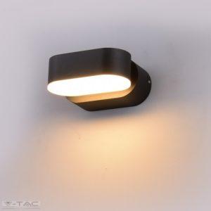 6W LED ovális fali lámpatest fekete 3000K IP65-8288