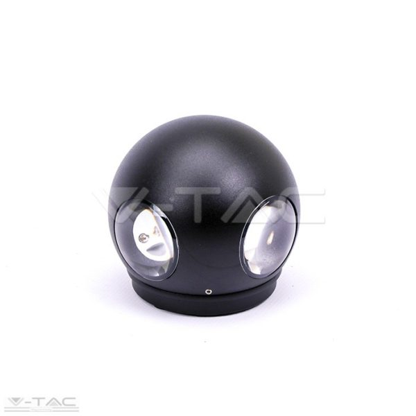 4W LED design gömb fali lámpa fekete IP65
