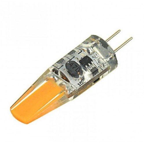 LED lámpa , 12V DC, G4 foglalat , 2 Watt , 320° , szilikon bevonat , meleg fehér, COB