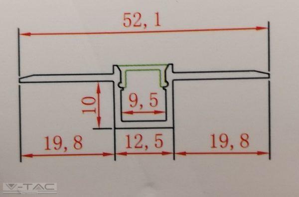 Alumínium profil, falba süllyeszthető keskeny 2 méter - 3360