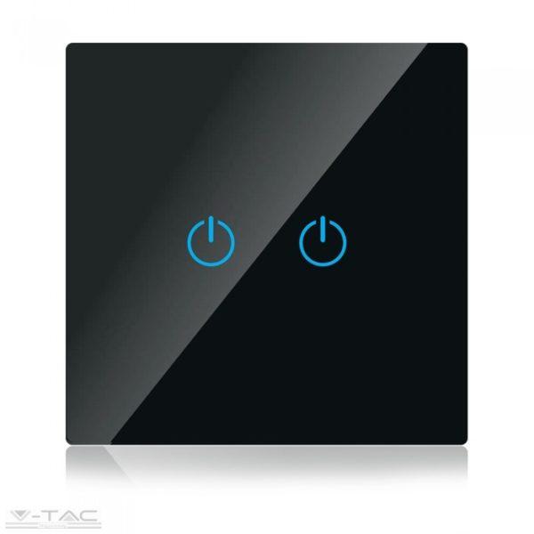 Fekete üveg kapcsoló dupla - 8387