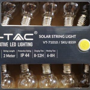 1W LED napelemes fényfüzér 2 méter 3000K - 8559