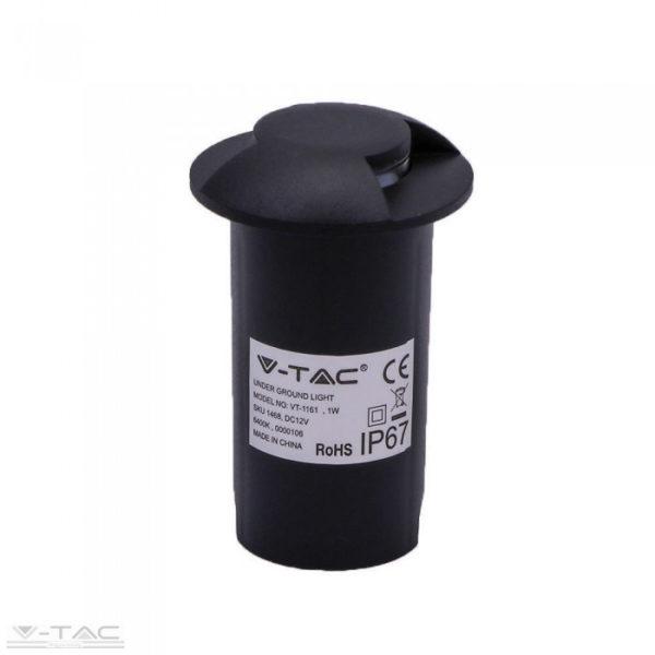 1W LED földbe süllyeszthető kétirányú világítás fekete 6500K - 1468