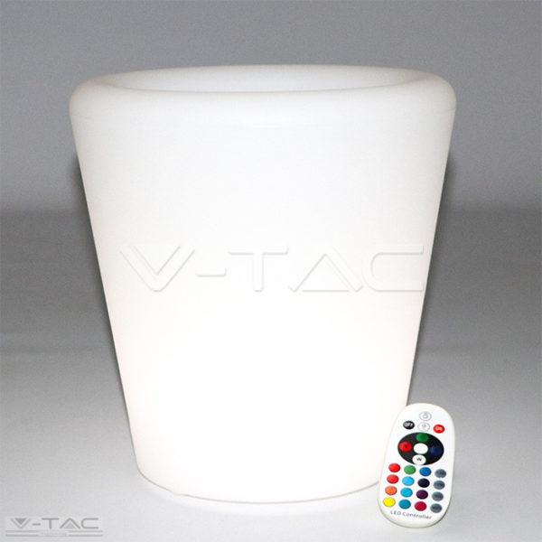 RGB LED-es kaspó fehér 28 cm IP54 - 40181