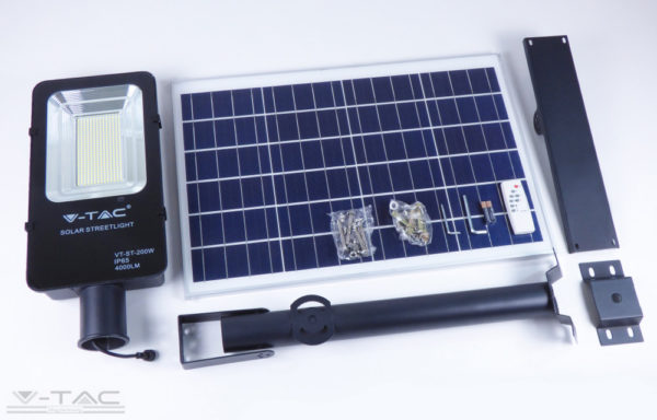 50W Napelemtábla LED Utcai világítással, tartórúddal 4000K - 5502