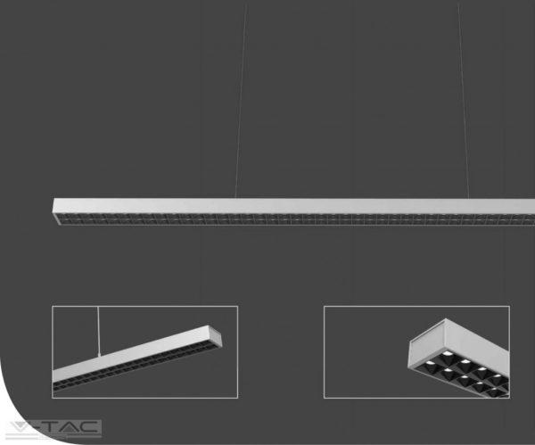 60W LED up and down lineár lámpatest sodronyos függesztékkel fehér 4000K UGR - PRO606