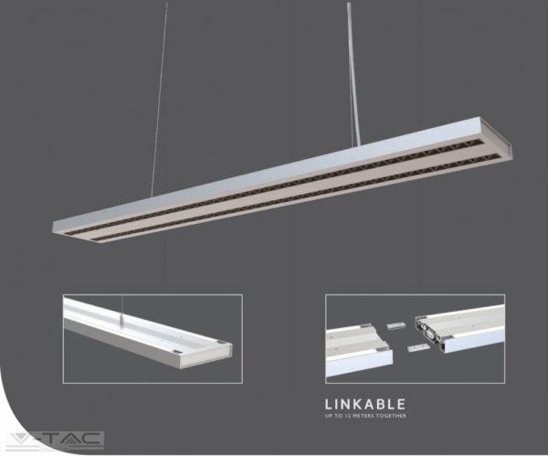 60W LED up and down széles toldható lineár lámpatest sodronyos függesztékkel fehér 4000K UGR - PRO608