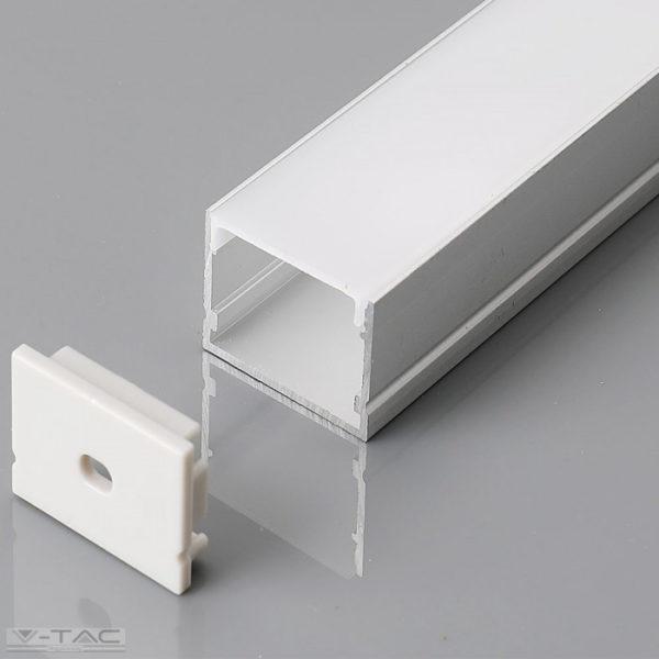 Széles alumínium profil LED szalaghoz 2 méter tejfehér fedlappal - 3371