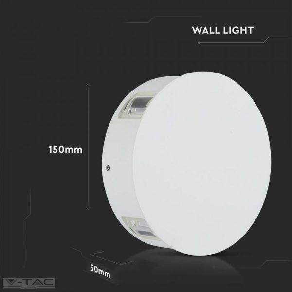 4W LED fehér kör fali lámpa IP65