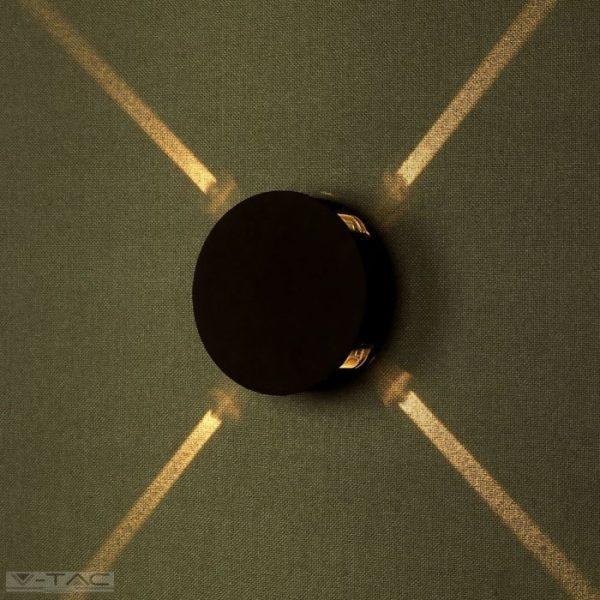 4W LED fekete kör fali lámpa IP65