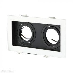 Fehér/fekete szögletes dupla GU10 spotkeret billenthető - 8877