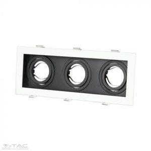 Fehér/fekete szögletes tripla GU10 spotkeret billenthető - 8878