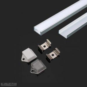 Alumínium profil LED szalaghoz 2 méter tejfehér fedlappal - 3370