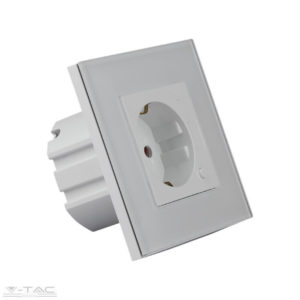 Smart wifis Fehér EU konnektor üveg panel 16A - 8798