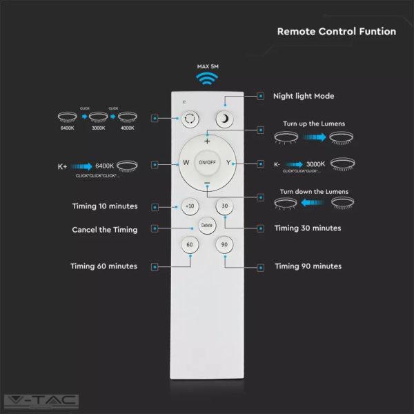 60W dimmelhető LED mennyezeti design lámpa 3 in 1 vezérlővel - 14621