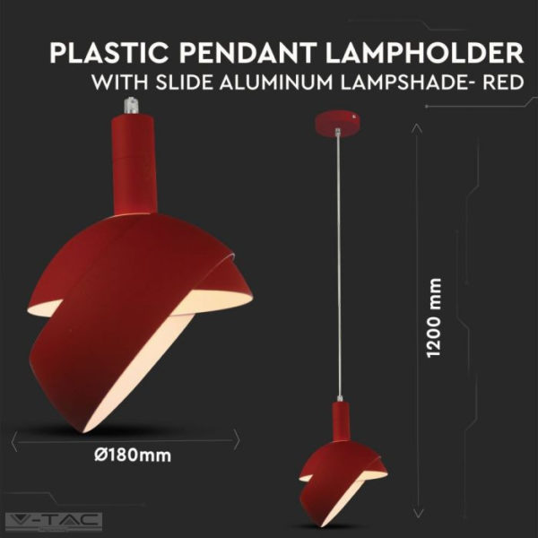 Piros mozgatható búrájú design csillár E14 foglalattal - 3924