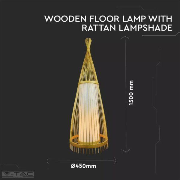 Rattan design állólámpa E27 foglalattal ø400mm - 40561