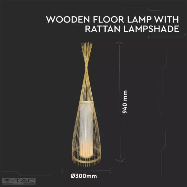 Rattan design állólámpa E27 foglalattal ø300mm - 40571
