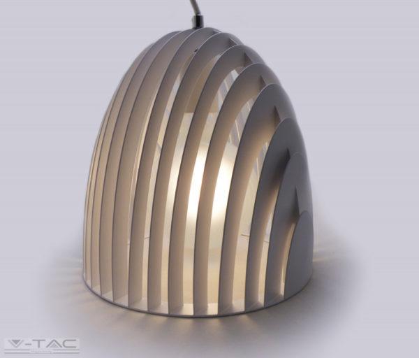 Fehér fém kúp csillár prizma hatású E27 - 3952