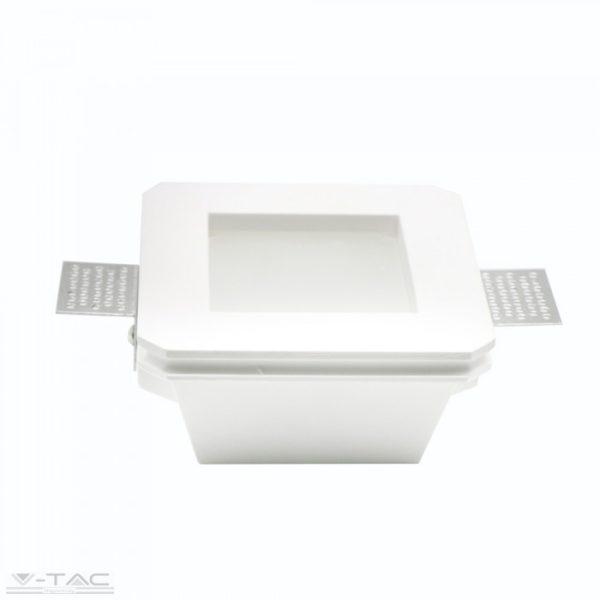 GU10 négyszög beépítőkeret fehér gipsz opál üveglappal - 3691