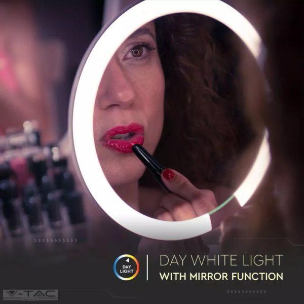 5W LED-es újratölthető sminktükör mágneses nagyító tükörrel - 8931