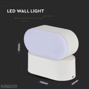 6W LED ovális fali lámpatest fehér IP65