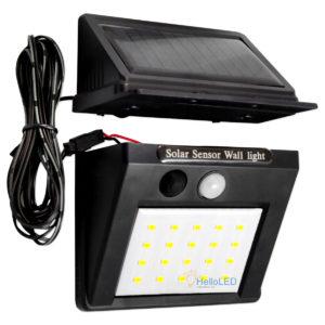 Solar LED lámpa 3 W-os, alkonykapcsolóval, mozgásérzékelővel, kábel, 3 program