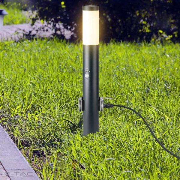 Fekete kerti álló lámpatest E27 foglalattal beépített mozgásérzékelővel IP44 - 8976