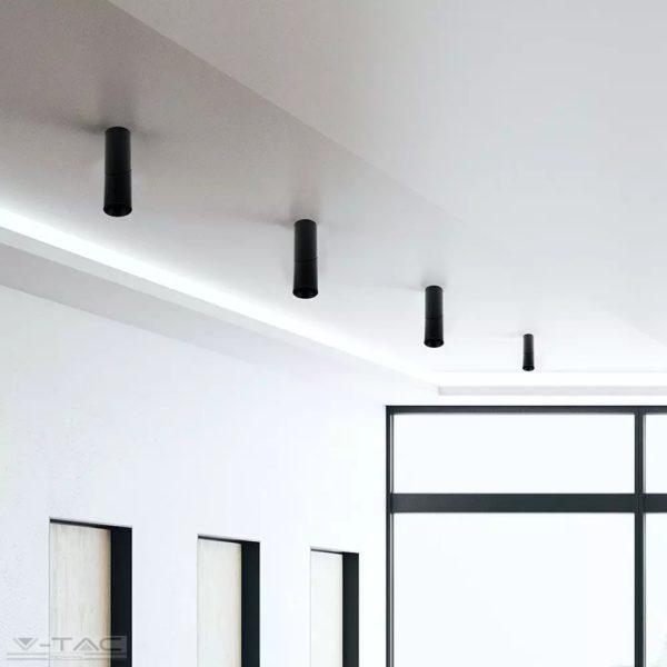 Falon kívüli forgatható GU10 keret fekete kör - 8947