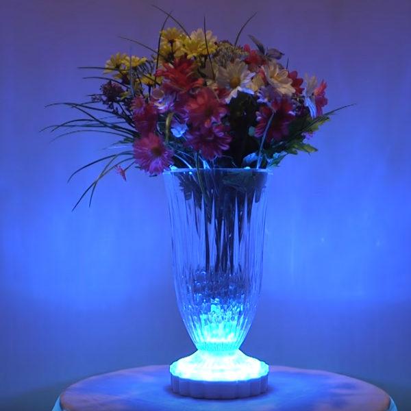 Színváltós kerek asztalközép, LED dekorfény, távirányítós, RGB