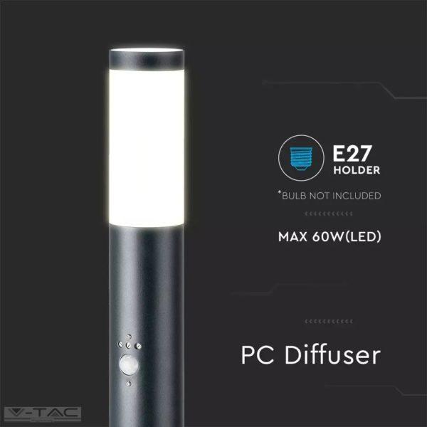 Fekete rögzíthető kerti mozgásérzékelős álló lámpatest E27 foglalattal acél váz IP44 - 8968
