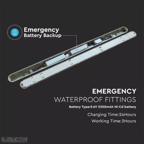 48W Sorolható LED Vízálló lámpa Készenléti akkumulátorral Samsung chip opál búra 150 cm 4000K - 20221