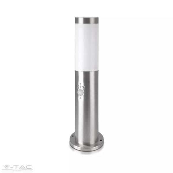 Ezüst rögzíthető kerti mozgásérzékelős álló lámpatest E27 foglalattal acél váz IP44 - 8964