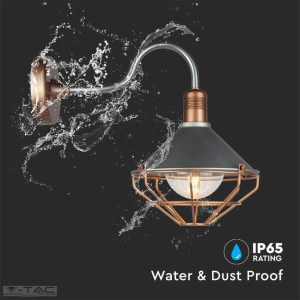 Elegáns fém oldalfali lámpatest rózsaarany IP65 - 8973
