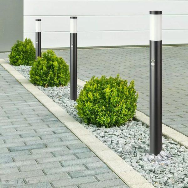 Fekete rögzíthető kerti mozgásérzékelős álló lámpatest E27 foglalattal acél váz IP44 - 8983
