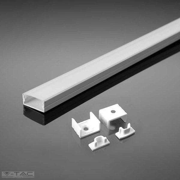FEHÉR alumínium profil LED szalaghoz 2 méter tejfehér fedlappal - 3365