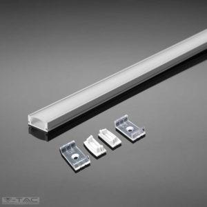 FEHÉR alumínium profil LED szalaghoz 2 méter tejfehér fedlappal - 3367