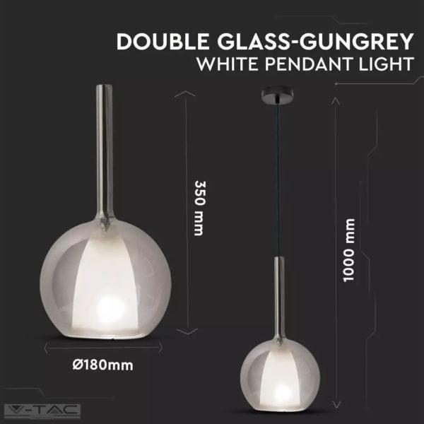 Dupla üvegű szürke csillár E27 foglalattal D:180mm - 3877