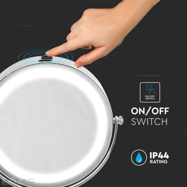 3W LED elemes hordozható sminktükör nagyítóval - 6629