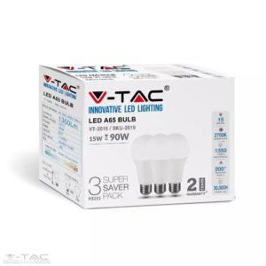 15W LED izzó E27 A65 3db/csomag