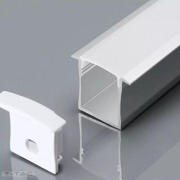 Széles alumínium profil LED szalaghoz 2 méter tejfehér fedlappal - 3372